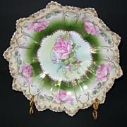 VINTAGE Porcelain Bowl Roses and Gold Trim R.S. Prussia