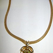 VINTAGE Topaz Set with Peridot rhinestones Necklace Very Pretty