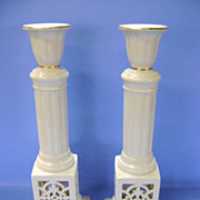 VINTAGE  Two 11 Inch Lenox Porcelain Candlesticks  Pair