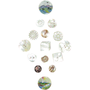 VINTAGE Button Card of 15 Different Pearl Buttons Two Painted
