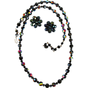 VINTAGE  Black Glass with Aurora Borealis Round Clip Earrings