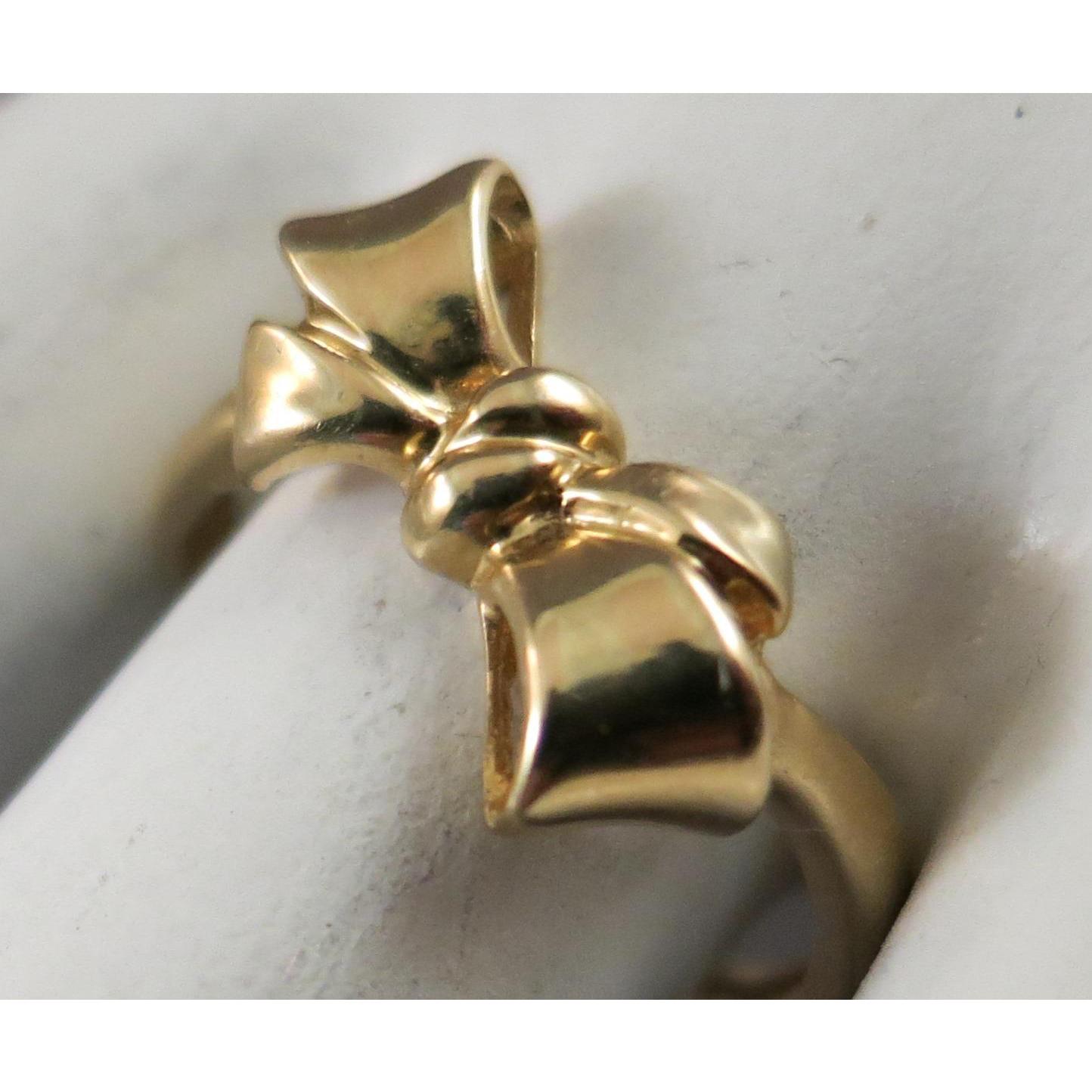 vintage sweet sixteen bow ribbon 14k yellow gold ring size