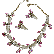 VINTAGE 60'S Unsigned Beauty Rhinestone Set Pink Flowers