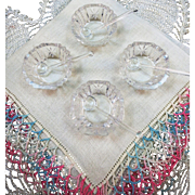 VINTAGE Four Cut Glass Salts with Four Glass Spoons and Hankie and Lace.