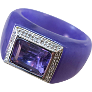 VINTAGE Lavender Jade Ring with Emerald Cut Faceted Amethyst and 4 Tiny Diamonds  Size 6