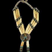 VINTAGE Native American Buffalo Bone Hair Pipe Necklace