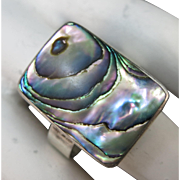 VINTAGE  Sterling Ring with Large Abalone Set  Ring Size 8