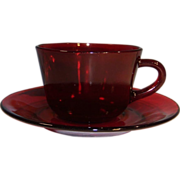 Anchor Hocking Royal Ruby Red Coffee Cup & Saucer