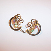 Vintage 1940's -50's Gilded Bond Boyd Sterling Earrings