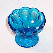 Vintage Azure Blue Scalloped Glass Open Candy