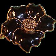 "2"" Black Glossy Enamel Flower Pin"