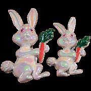 Vintage Iridescent Enamel Bunny Rabbit Pins