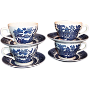 Set of 4: Churchill Blue Willow Cups & Saucers