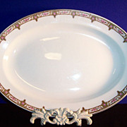 "W. H. Grindley: Normandie Pattern  13 5/8"" Platter ( Pink Roses & Gold Trim)"