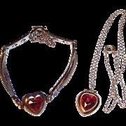 1960'S Little Girl's Golden Heart Locket & Bracelet