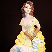 Chalkware Figurine: Victorian Lady & Dog