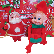 Vintage Red Pixie Knee Hugger Elf & Flocked Santa