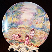"SOLD 1977 Vintage Collector's Plate:  ""Picking Flowers"""