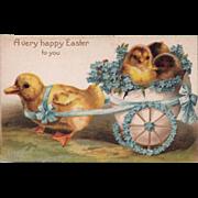 SOLD Antique Unused Easter Fantasy Chicks / Peeps Postcard