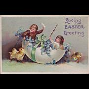SOLD c. 1911 Antique Easter Postcard Children in Eggshell Fantasy