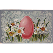 "Vintage ""Easter Joys"" Daffodils and Easter Egg Postcard -- Valentine & Sons Publ"