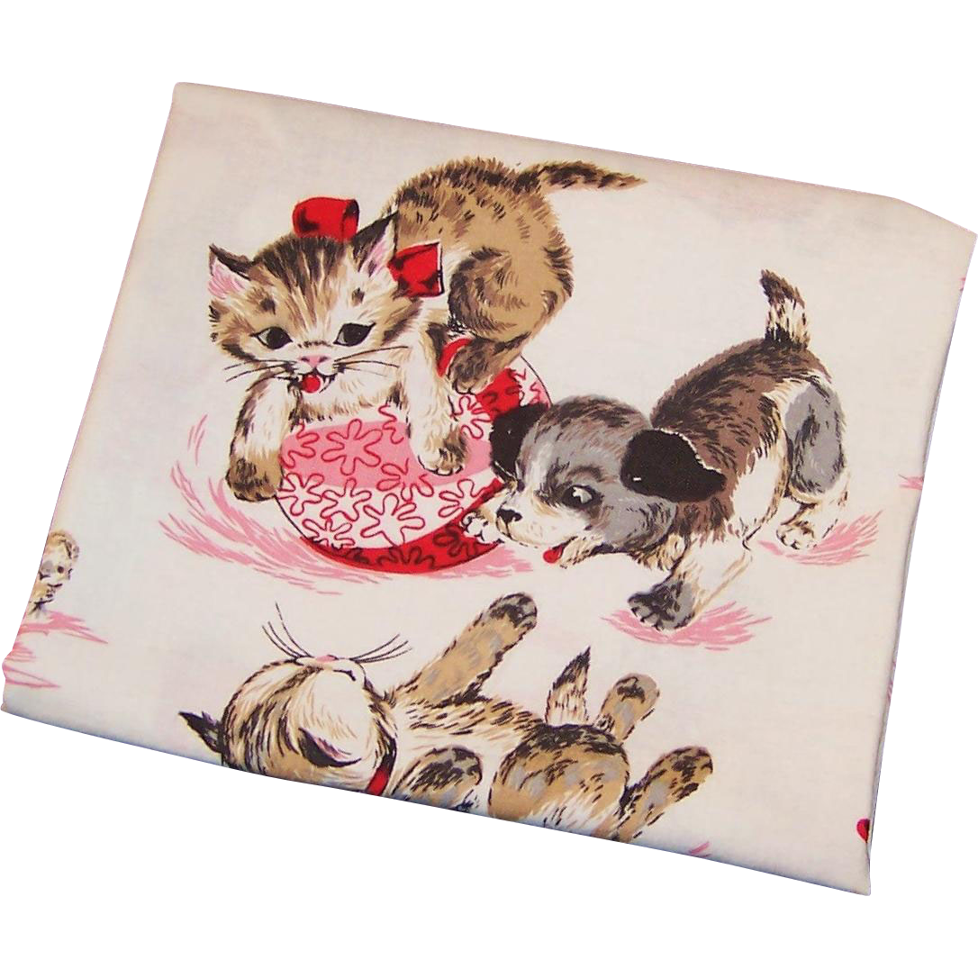 Vintage 1950 39 s children 39 s print kitten and puppy dog for Vintage childrens fabric prints