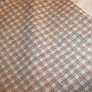 """1 Yard  x 60"""" Wide: Vintage  1960's - 70's Tan Checked Polyester"""