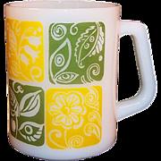 Vintage Milk Glass Floral Federal Mug