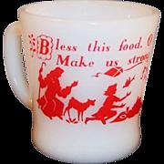Fire King Prayer Mug