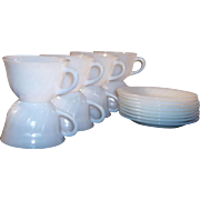 (2) SETS of FOUR: Fire King White Swirl Coffee Cups & Saucers