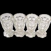 (4) Jeanette Glass Thumbprint Tumblers Petal Base