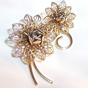 Vintage Lacy Double Bloom Floral Brooch