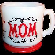 "Hazel Atlas: Red & White, Gay 90's ""Mom"" Coffee Mug ...Perfect for Mom's of any age"