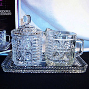 New in Box Vintage Windsor Creamer,  Sugar & Tray  Set