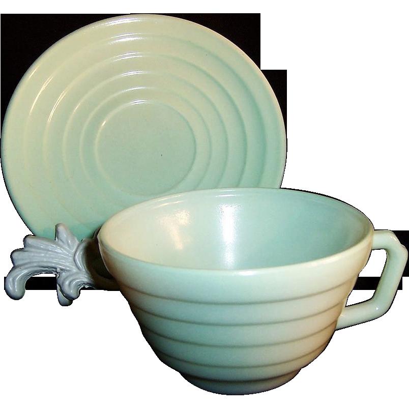 Hazel Atlas Moderntone Cup & Saucer Set