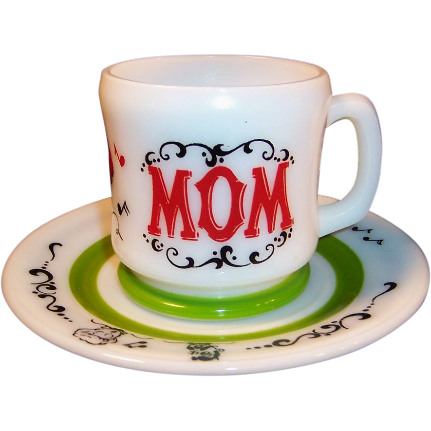 "Hazel Atlas Gay 90's ""Mom"" Mug & 7""  Plate Set"