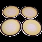 Hazel Atlas Ovide Informal Yellow & Black Saucers