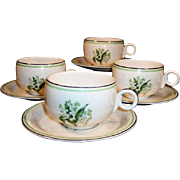 SET of 4: Homer Laughlin Lily of the Valley Swing Cups & Saucers