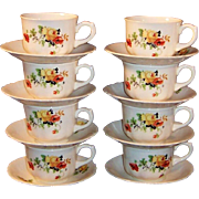 SETS of 4: Homer Laughlin Poppy & Rose Cups & Saucers  (2 Sets of 4 are available)