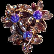 Stunning!  Sparkling  Amethyst & Pink Navettes, Purple Art Glass, & Aurora Borealis Rhinestone