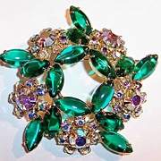 "2 1/2""  Open Backed Green Navettes & Sparkling AB Brooch"