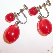 Red Vintage Moonglow Lucite Earrings