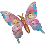 Vintage Hand Painted Swallowtail Butterfly Pin Korea