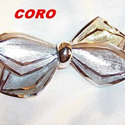 Coro Brushed Silver Tone Bow Brooch