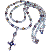 Double Strand Czech Glass, Pearl, &  Silver Cross Necklace
