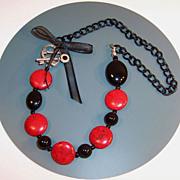 Black Accessorized Red  Howlite Lentil Necklace