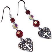 REDUCED Sterling Silver Ultimate Love Story: Ruby Red Heart & Cross Earrings