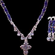 Deep Cobalt & Lapis Lazuli Blues, Hematite, Gunmetal, & Sterling Silver Heart Cross Ne
