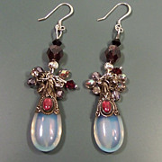 Feminine Sterling Silver  & Opalite Handcrafted Earrings ...ONE OF A KIND!