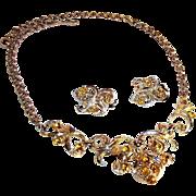 Coro Amber Rhinestone Demi Parure in Box ~ Necklace & Earrings